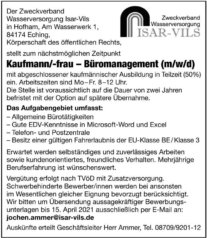 Stellenanzeige Kaufmann/-frau für Büromanagement (m/w/d)